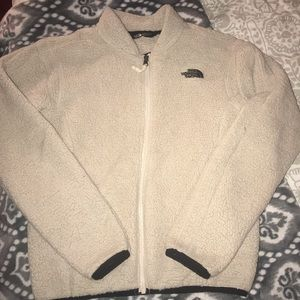 cream the north face fluffy jacket